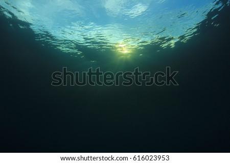 Underwater blue ocean background and sunlight