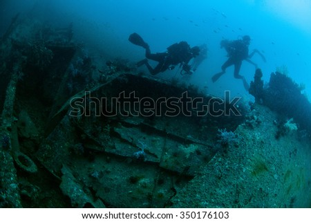 Underwater deep blue sea and scuba divers  #350176103