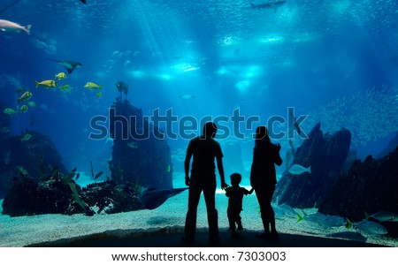 Underwater family. Silhouettes of young family of three enjoying views of underwater life. Family having free time in Oceanarium. - stock photo