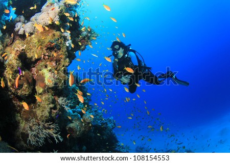 Underwater image of female Scuba Diver with tropical fish on a coral reef #108154553