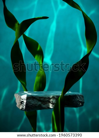 Underwater mockup concept for product presentation. Cobblestone podium and seaweed with water caustic on blue background. Clipping path of each element included. 3d rendering illustration.
