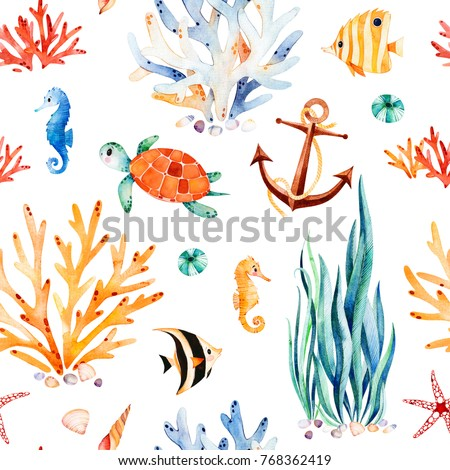 Underwater multicolored seamless pattern.Seaworld watercolor background with cute turtle,seahorse,coral reef,seaweed,anchor.Perfect for invitations,party decorations,printable,craft project,wallpaper.