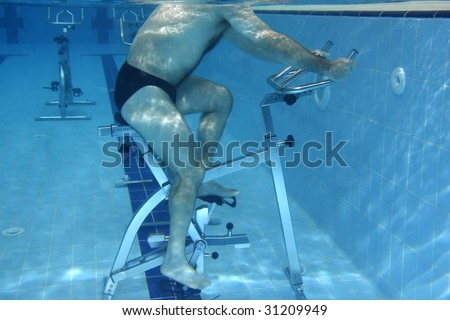 Underwater picture - man exercising on a Bicycle.