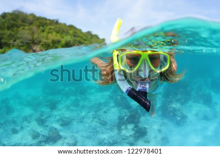 Underwater portrait of a woman snorkeling in tropical sea