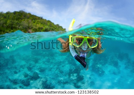 Shutterstock Underwater portrait of a woman snorkeling in tropical sea.