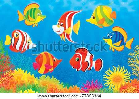 Fish Underwater Drawing Underwater Scene Of Colorful