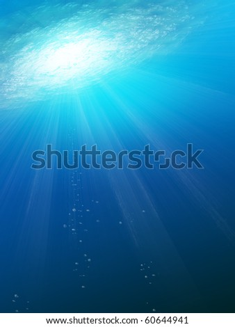 Underwater Scene with sun rays abstract with water and sun rays