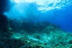 Underwater scenery with rocks and sun rays. Image taken scuba diving in Indonesia