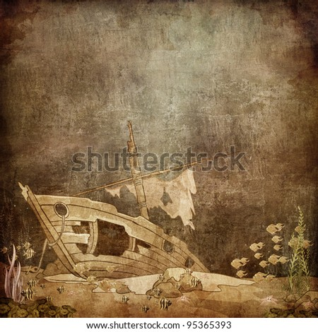 Underwater Ship on the Old Paper Style Photo. Illustration.