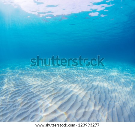 Underwater shoot of an infinite sandy sea bottom with clear blue water and waves on its surface