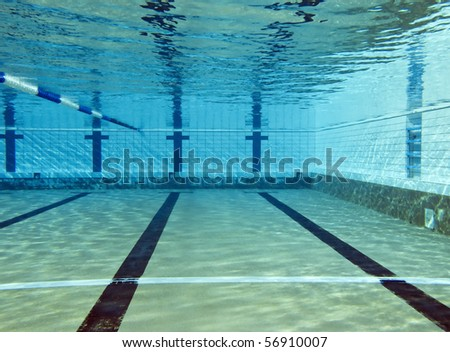 underwater shoot of empty swimming pool - stock photo