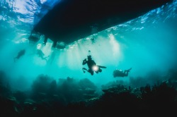 Underwater shot taken under a large boat with silhouettes of divers and strong golden light rays shining through the surface