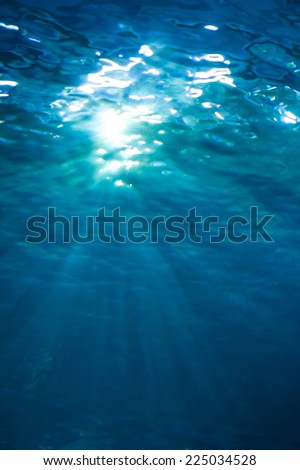 Underwater shot with sunlight