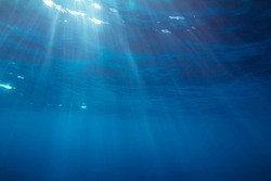 Underwater shot with sunrays in deep tropical sea