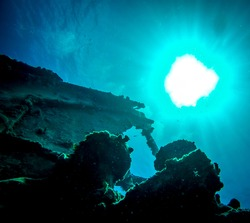 underwater sunshine on ship wreck st thomas virgin islands