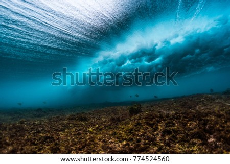 Underwater view of an ocean wave breaking over coral reef