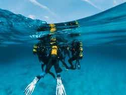 Underwater view on group of scuba divers with instructor in seawater at Mallorca. Discovering adventurous activities and exploring diverse underwater world. Active relaxation on summer holiday.