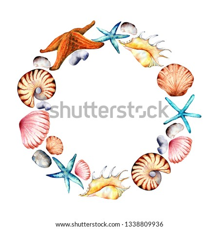 Underwater world illustration.Colorful, detailed, with lots of objects background. All objects separate.Cartoon watercolor doodles.