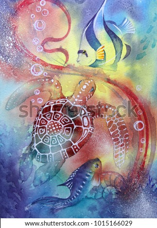 Stock Photo Underwater world.  Seahorse. illustration of a sea. seabed, crab, coral fish, Atlantis, coral reef. Watercolor painting.