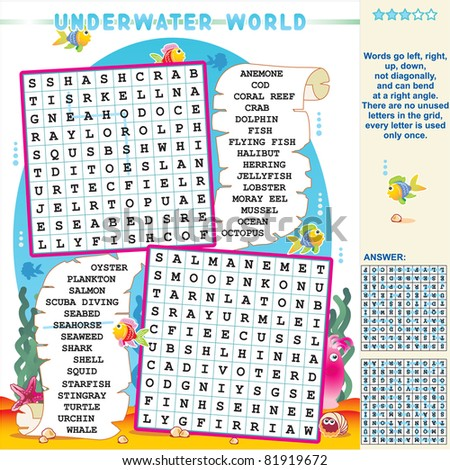 Underwater world zigzag word search puzzle, answer included ( for vector EPS see image 81919669 )