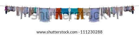Underwear drying on a rope isolated on white background - stock photo