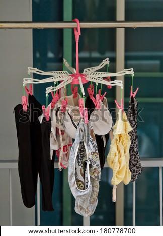 underwear set hanging on hanging