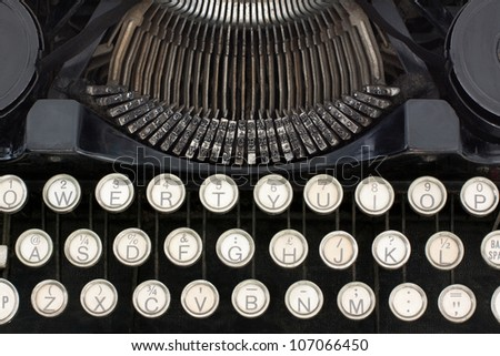 Underwood Standard Portable Typewriter with sheet of paper isolated on white background