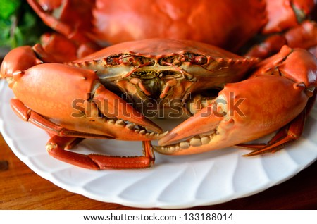 undressed roasted crabs prepared on plate
