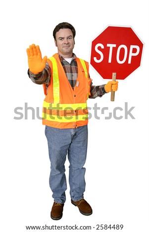 Une garde de croisement amicale d'école tenant un signe d'arrêt.Plein corps d'isolement sur le blanc. - stock photo