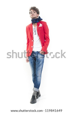 Une isolated fashion man standing on white background