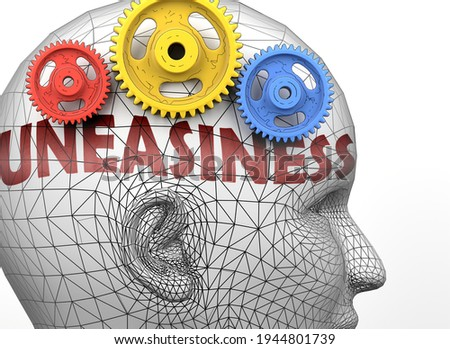 Uneasiness and human mind - pictured as word Uneasiness inside a head to symbolize relation between Uneasiness and the human psyche, 3d illustration Stock photo ©