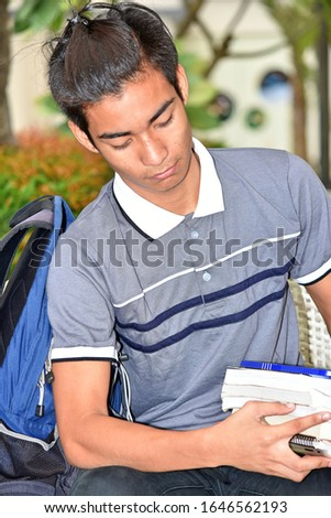 Unemotional University Diverse Person With Notebooks