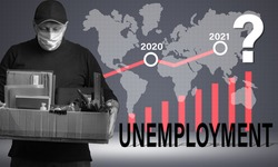 Unemployment. Concept - increase in unemployment in world. Graph depicts increase in number unemployed. Concept - unemployment growth forecast. Man in medical mask. Silhouettes continents. Pandemic