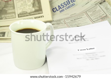 Unemployment. Picture of tools for looking for job when on unemployment. - stock photo