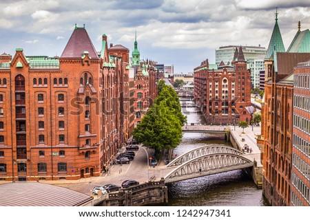 """Unesco World Cultural Heritage """"Speicherstadt"""" in Hamburg - Germany"""