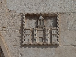 UNESCO World Heritage. Detail of historic building with the emblem of the city of Split. Croatia.
