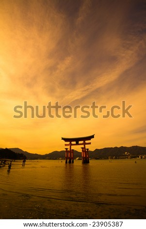 Unesco world heritage shrine gate at dusk