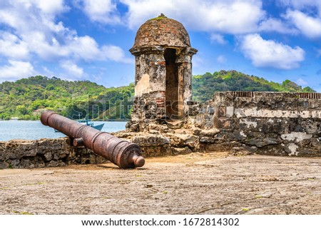 UNESCO World Heritage Site Fort San Jeronimo is a tremendous example of 17th century military fortifications located in Portobelo, Panama. Photo stock ©