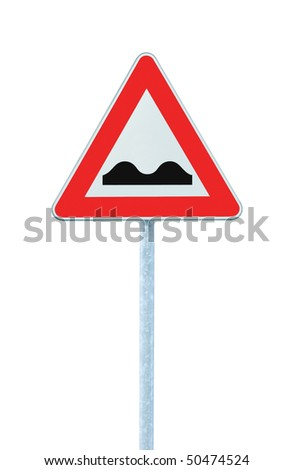 Uneven Road Sign With Pole, isolated on white