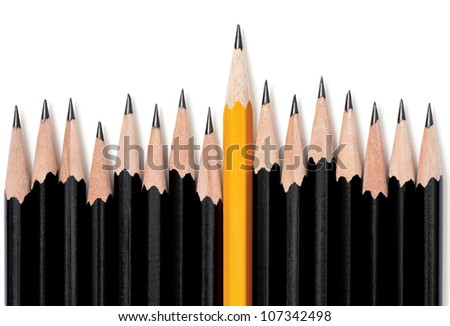 Uneven row of black pencils with one yellow pencil in middle rising taller than the rest. On white with drop shadow