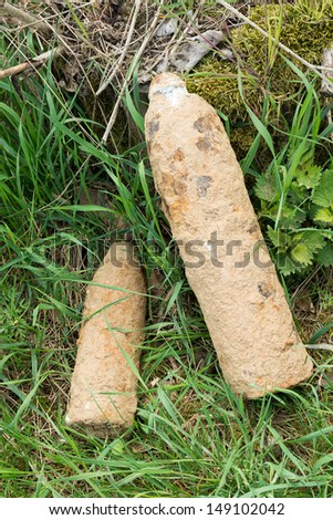 Unexploded shells at the roadside France Stock photo ©
