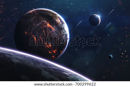 Unexplored planets of faraway space. Deep space image, science fiction fantasy in high resolution ideal for wallpaper and print. Elements of this image furnished by NASA #700299622