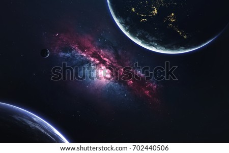 Unexplored planets of faraway space. Deep space image, science fiction fantasy in high resolution ideal for wallpaper and print. Elements of this image furnished by NASA #702440506