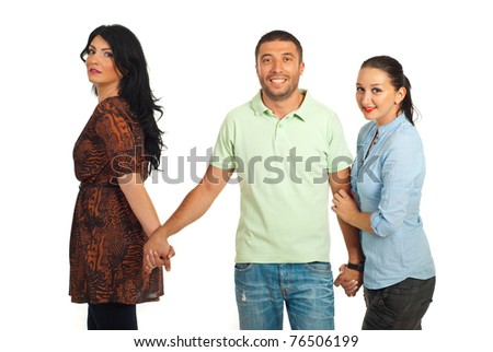 Unfaithful man  between two women  ,one woman it is confused and the other trying to keep the man for her isolated on white background