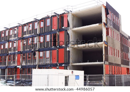Unfinished building on construction site