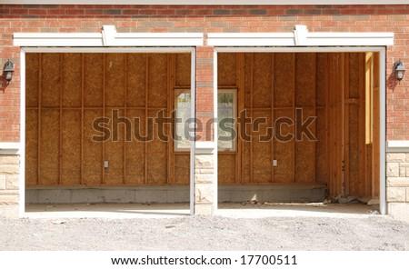 Unfinished double garage
