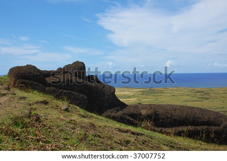 Unfinished Moai at Rano Raraku, Easter Island, Chile