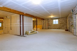 Unfinished new build interior construction basement renovation ground floor Inside selected focus
