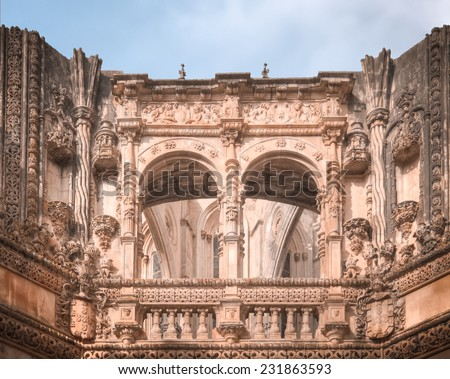 Unfinished part of the monastery of Batalha, in the absence of funds and the decision not finished vaults of King, photograph in Batalha, Portugal.