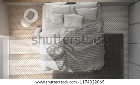 Unfinished project draft interior design, white and minimalist bedroom with parquet floor, fur carpet and soft blanket, top view, 3d illustration #1174322065